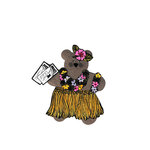 Scrapbook Customs - Rubber Stamp - Bear and Bunny Hula Girl Set