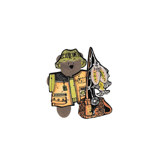 Scrapbook Customs - Rubber Stamp - Bear and Bunny Fisherman Set