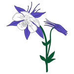 Scrapbook Customs - United States Collection - Colorado - Laser Cut - Columbine Flower