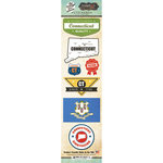 Scrapbook Customs - Vintage Label Collection - Cardstock Stickers - Connecticut Vintage