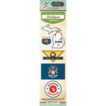 Scrapbook Customs - Vintage Label Collection - Cardstock Stickers - Michigan Vintage
