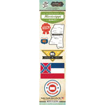 Scrapbook Customs - Vintage Label Collection - Cardstock Stickers - Mississippi Vintage