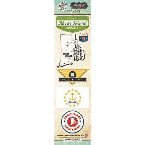 Scrapbook Customs - Vintage Label Collection - Cardstock Stickers - Rhode Island Vintage