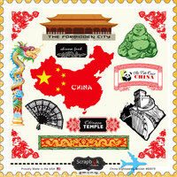 Scrapbook Customs - 12 x 12 Cardstock Stickers - China Sightseeing