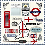 Scrapbook Customs - 12 x 12 Cardstock Stickers - England Sightseeing