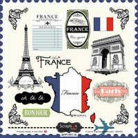 Scrapbook Customs - 12 x 12 Cardstock Stickers - France Sightseeing