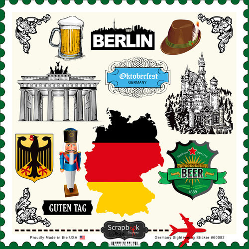 Scrapbook Customs - 12 x 12 Cardstock Stickers - Germany Sightseeing