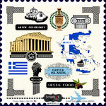 Scrapbook Customs - 12 x 12 Cardstock Stickers - Greece Sightseeing