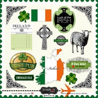 Scrapbook Customs - 12 x 12 Cardstock Stickers - Ireland Sightseeing