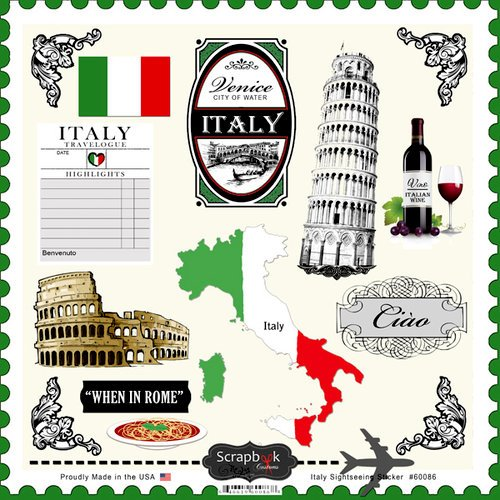 Scrapbook Customs - 12 x 12 Cardstock Stickers - Italy Sightseeing