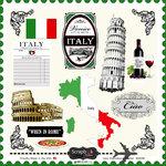 Scrapbook Customs - 12 x 12 Cardstock Stickers - Italy Sightseeing