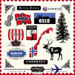 Scrapbook Customs - 12 x 12 Cardstock Stickers - Norway Sightseeing