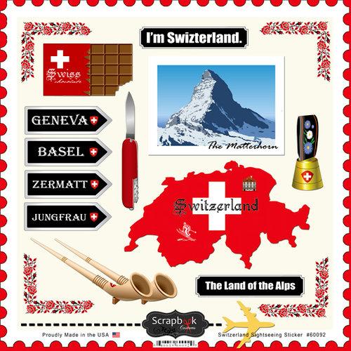 Scrapbook Customs - 12 x 12 Cardstock Stickers - Switzerland Sightseeing