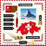 Scrapbook Customs - 12 x 12 Cardstock Stickers - Switzerland Sightseeing