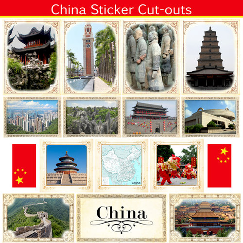 Scrapbook Customs - 12 x 12 Sticker Cut Outs - China Sightseeing