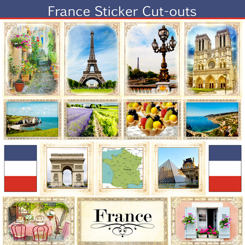Scrapbook Customs - 12 x 12 Sticker Cut Outs - France Sightseeing