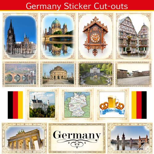 Scrapbook Customs - 12 x 12 Sticker Cut Outs - Germany Sightseeing