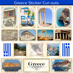 Scrapbook Customs - 12 x 12 Sticker Cut Outs - Greece Sightseeing