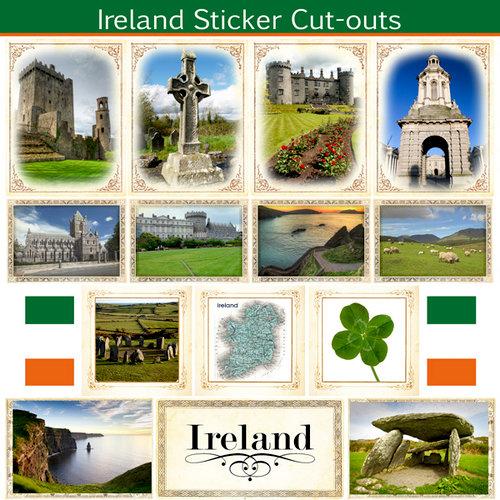 Scrapbook Customs - 12 x 12 Sticker Cut Outs - Ireland Sightseeing