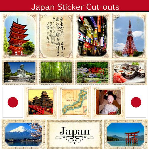 Scrapbook Customs - 12 x 12 Sticker Cut Outs - Japan Sightseeing