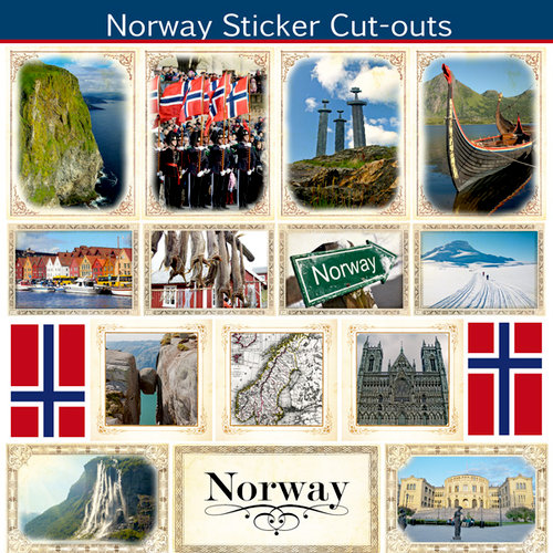 Scrapbook Customs - 12 x 12 Sticker Cut Outs - Norway Sightseeing