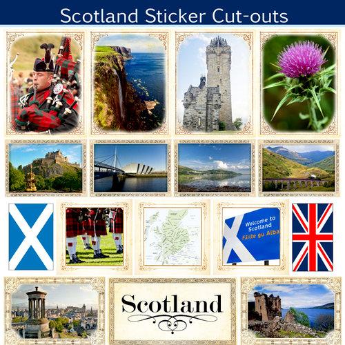 Scrapbook Customs - 12 x 12 Sticker Cut Outs - Scotland Sightseeing