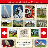 Scrapbook Customs - 12 x 12 Sticker Cut Outs - Switzerland Sightseeing