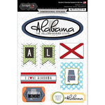 Scrapbook Customs - Travel Photo Journaling Collection - 3 Dimensional Stickers - Alabama