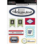Scrapbook Customs - Travel Photo Journaling Collection - 3 Dimensional Stickers - Arkansas