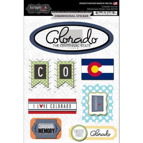 Scrapbook Customs - Travel Photo Journaling Collection - 3 Dimensional Stickers - Colorado