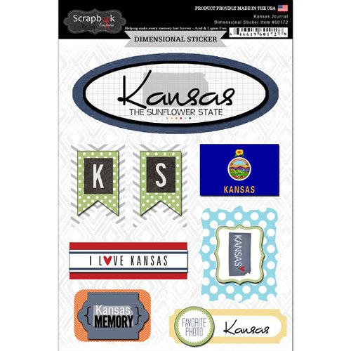 Scrapbook Customs - Travel Photo Journaling Collection - 3 Dimensional Stickers - Kansas