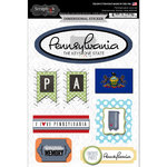 Scrapbook Customs - Travel Photo Journaling Collection - 3 Dimensional Stickers - Pennsylvania