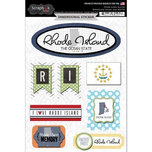 Scrapbook Customs - Travel Photo Journaling Collection - 3 Dimensional Stickers - Rhode Island