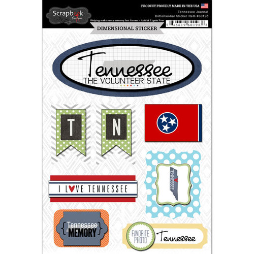 Scrapbook Customs - Travel Photo Journaling Collection - 3 Dimensional Stickers - Tennessee