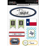 Scrapbook Customs - Travel Photo Journaling Collection - 3 Dimensional Stickers - Texas