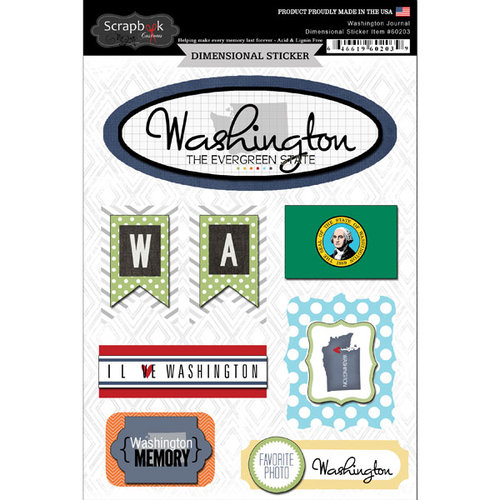 Scrapbook Customs - Travel Photo Journaling Collection - 3 Dimensional Stickers - Washington