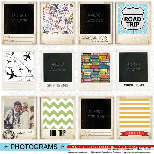 Scrapbook Customs - Travel Photo Journaling Collection - 12 x 12 Cardstock Stickers - Photogram
