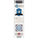 Scrapbook Customs - Travel Photo Journaling Collection - Doo Dads - Self Adhesive Metal Badges - Greece