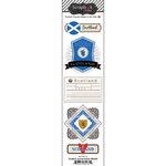 Scrapbook Customs - Travel Photo Journaling Collection - Doo Dads - Self Adhesive Metal Badges - Scotland