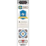 Scrapbook Customs - Travel Photo Journaling Collection - Doo Dads - Self Adhesive Metal Badges - Sweden