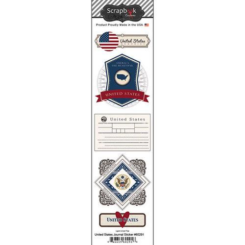 Scrapbook Customs - Travel Photo Journaling Collection - Doo Dads - Self Adhesive Metal Badges - USA