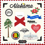 Scrapbook Customs - State Sightseeing Collection - 12 x 12 Cardstock Stickers - Alabama