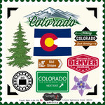 Scrapbook Customs - State Sightseeing Collection - 12 x 12 Cardstock Stickers - Colorado