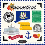 Scrapbook Customs - State Sightseeing Collection - 12 x 12 Cardstock Stickers - Connecticut