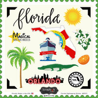 Scrapbook Customs - State Sightseeing Collection - 12 x 12 Cardstock Stickers - Florida