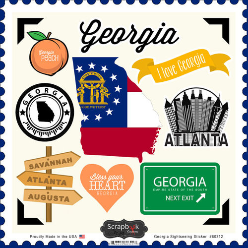 Scrapbook Customs - State Sightseeing Collection - 12 x 12 Cardstock Stickers - Georgia