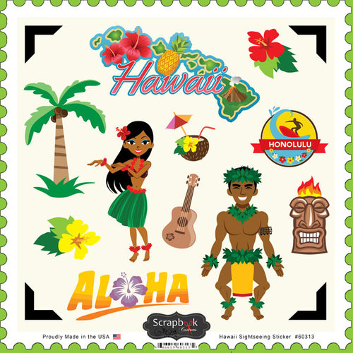 Scrapbook Customs - State Sightseeing Collection - 12 x 12 Cardstock Stickers - Hawaii