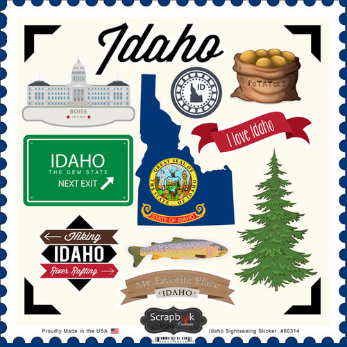 Scrapbook Customs - State Sightseeing Collection - 12 x 12 Cardstock Stickers - Idaho
