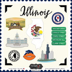 Scrapbook Customs - State Sightseeing Collection - 12 x 12 Cardstock Stickers - Illinois