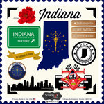Scrapbook Customs - State Sightseeing Collection - 12 x 12 Cardstock Stickers - Indiana
